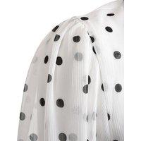 White Textured Chiffon Spot Puff Sleeve Shirt New Look