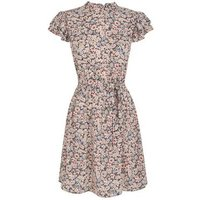 Black Floral Frill High Neck Dress New Look