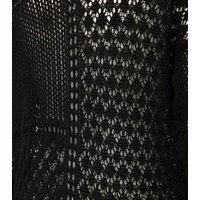 Black Pointelle Knit Kimono Cardigan New Look