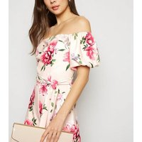 Pink Floral Bardot Puff Sleeve Jumpsuit New Look