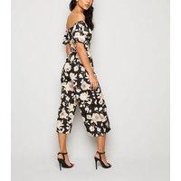Black Floral Puff Sleeve Tie Waist Jumpsuit New Look