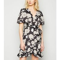 Black Floral Puff Sleeve Mini Wrap Dress New Look