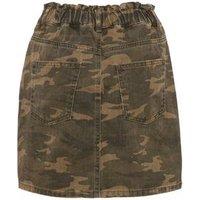 Green Camo High Waist Denim Skirt New Look