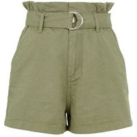 Girls Olive Belted High Waist Shorts New Look