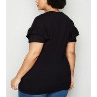 Curves Black Ruffle Honey Slogan T-Shirt New Look