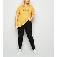 Curves Mustard Sketch Face T-Shirt New Look