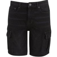 Black Washed Denim Cargo Shorts New Look
