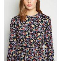 Influence Black Floral Tiered Midi Dress New Look