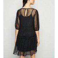Black Spot Mesh Smock Dress New Look