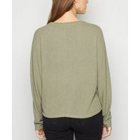 Olive Fine Knit Batwing Jumper New Look