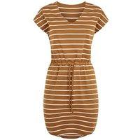 JDY Tan Stripe Drawstring Waist Dress New Look