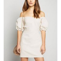 Petite Off White Puff Sleeve Denim Dress New Look