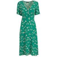 Petite Green Floral Empire Waist Midi Dress New Look
