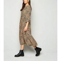 Brown Leopard Print Tiered Smock Midi Dress New Look