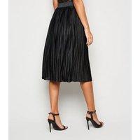 JDY Black Pleated Midi Skirt New Look