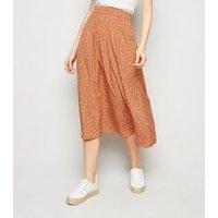 JDY Light Brown Ditsy Floral Midi Skirt New Look