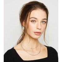 Affinity Silver Chunky Layered Chain Necklace New Look