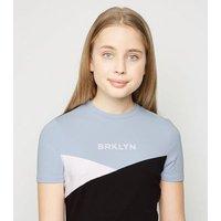 Girls Blue Colour Block Brooklyn Slogan Dress New Look