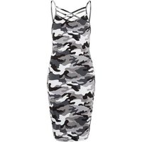 Girls Light Grey Camo Lattice Front Dress New Look