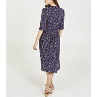 Blue Vanilla Navy Floral Shirred Midi Dress New Look