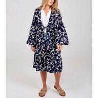 Blue Vanilla Navy Floral Tie Front Kimono Cardigan New Look