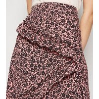 Pink Floral Ruffle Midi Skirt New Look