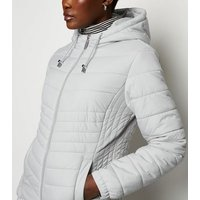 Pale Grey Lightweight Hooded Puffer Jacket New Look