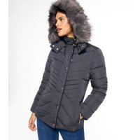 Dark Grey Faux Fur Hood and Lining Fitted Puffer Jacket New Look