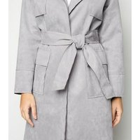 Urban Bliss Grey Suedette Belted Mac New Look