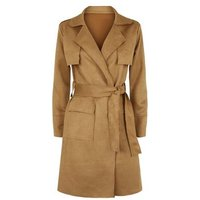 Urban Bliss Tan Suedette Belted Mac New Look