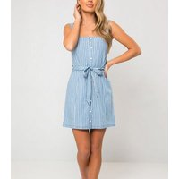 Urban Bliss Blue Chambray Stripe Dress New Look