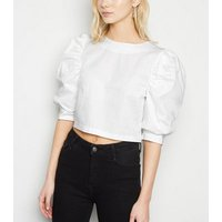 Cameo Rose White Poplin Puff Sleeve Top New Look