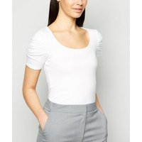 White Ribbed Ruched Puff Sleeve T-Shirt New Look