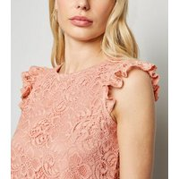 Pale Pink Lace Frill Scallop Trim Blouse New Look