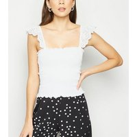 White Shirred Broderie Trim Vest New Look