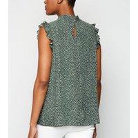 Green Spot Shirred Neck Sleeveless Shirt New Look