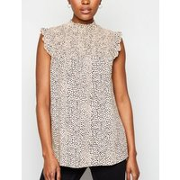 Pink Spot Shirred Neck Sleeveless Shirt New Look
