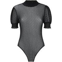 Black Spot Mesh Puff Sleeve Bodysuit New Look