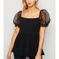 Black Organza Puff Sleeve Peplum Top New Look