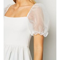 White Organza Puff Sleeve Peplum Top New Look