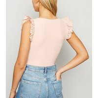 Pale Pink Ribbed Broderie Frill Bodysuit New Look