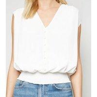 Off White Shirred Hem Sleeveless Blouse New Look