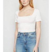 White Wide Rib Square Neck Bodysuit New Look