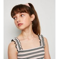 Girls Pink Stripe Ribbed Frill Cami New Look