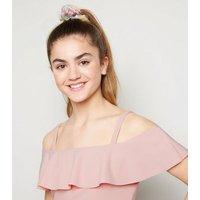 Girls Pale Pink Scuba Crepe Ruffle Top New Look