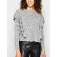 Pale Grey Fine Knit Frill Trim Top New Look