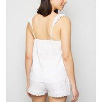 White Broderie Spot Short Pyjama Set New Look