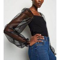 Tall Black Organza Sleeve Top New Look