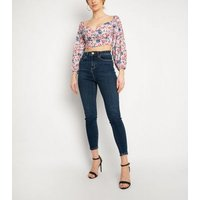 NaaNaa Pink Floral Long Sleeve Crop Top New Look