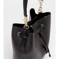 Black Leather-Look Bucket Bag New Look